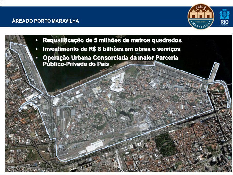 ÁREA DO PORTO MARAVILHA Requalificação de 5 milhões de metros quadradosRequalificação de 5 milhões de metros quadrados Investimento de R$ 8 bilhões em