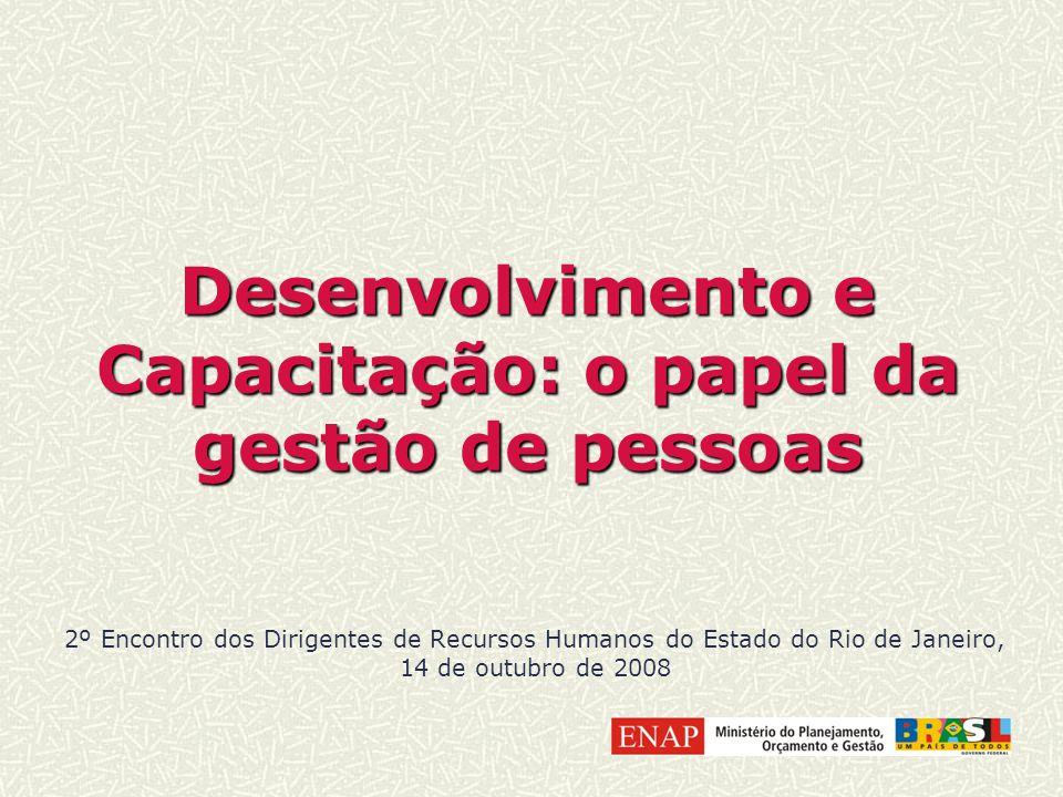 Desenvolvimento e Capacitação: o papel da gestão de pessoas 2º Encontro dos Dirigentes de Recursos Humanos do Estado do Rio de Janeiro, 14 de outubro de 2008