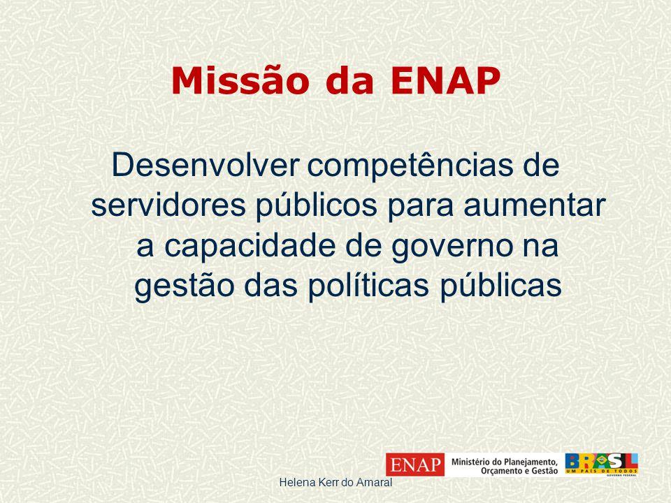 Missão da ENAP Desenvolver competências de servidores públicos para aumentar a capacidade de governo na gestão das políticas públicas Helena Kerr do Amaral