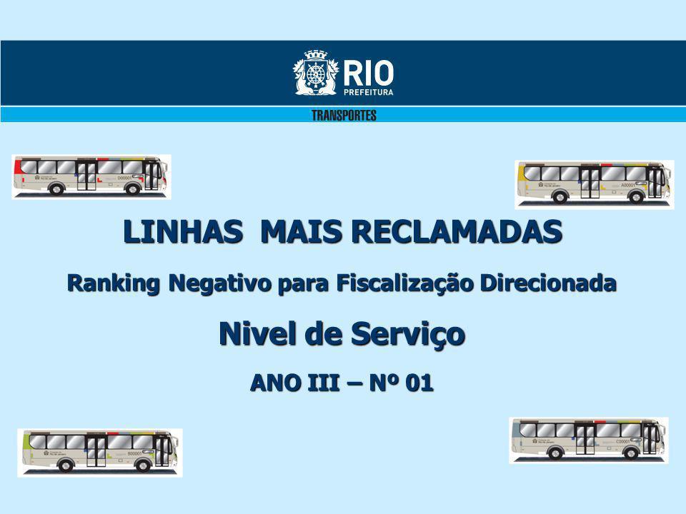 LINHAS MAIS RECLAMADAS Ranking Negativo para Fiscalização Direcionada Nivel de Serviço ANO III – Nº 01