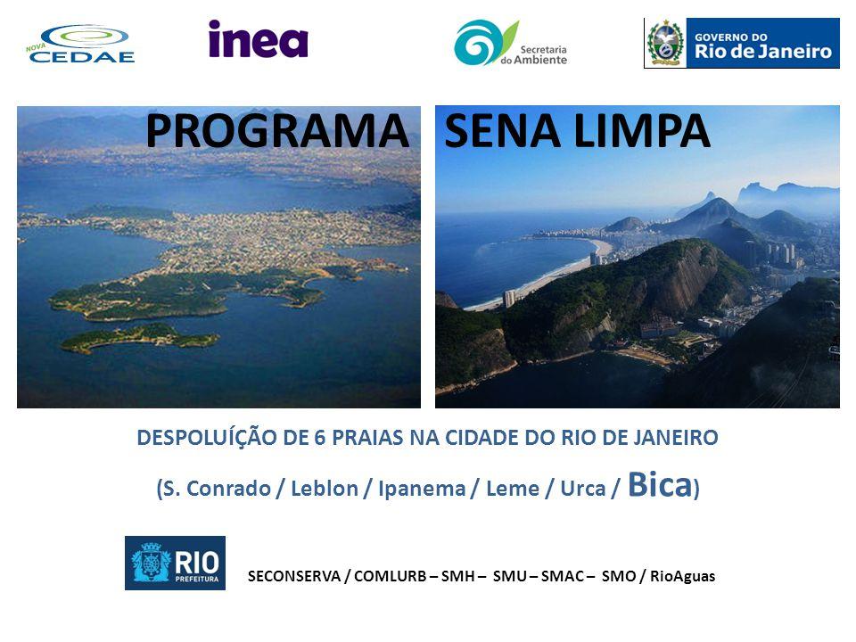 DESPOLUÍÇÃO DE 6 PRAIAS NA CIDADE DO RIO DE JANEIRO (S. Conrado / Leblon / Ipanema / Leme / Urca / Bica ) SECONSERVA / COMLURB – SMH – SMU – SMAC – SM