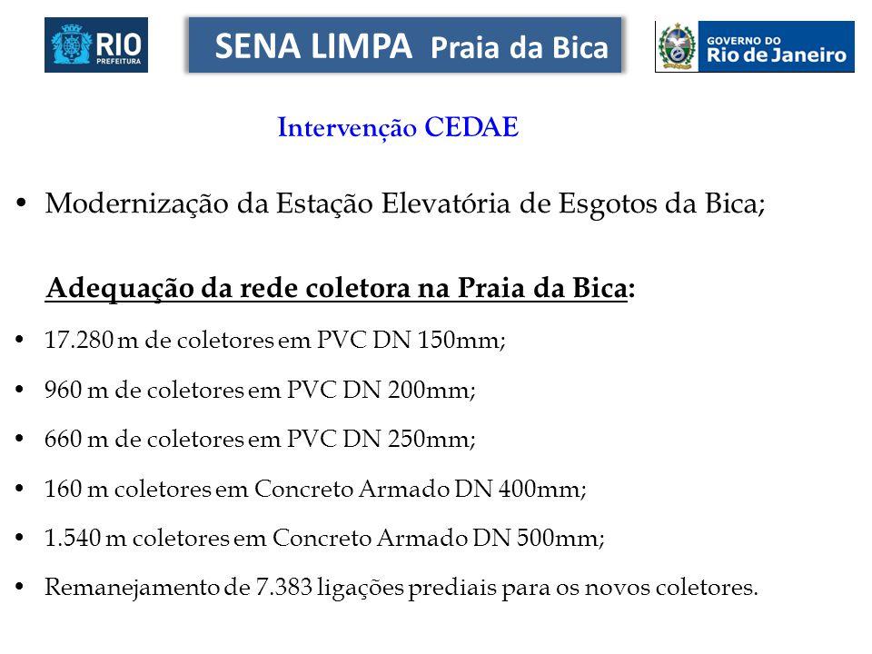 Modernização da Estação Elevatória de Esgotos da Bica; Adequação da rede coletora na Praia da Bica: 17.280 m de coletores em PVC DN 150mm; 960 m de co