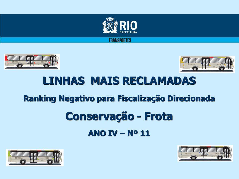 LINHAS MAIS RECLAMADAS Ranking Negativo para Fiscalização Direcionada Conservação - Frota ANO IV – Nº 11
