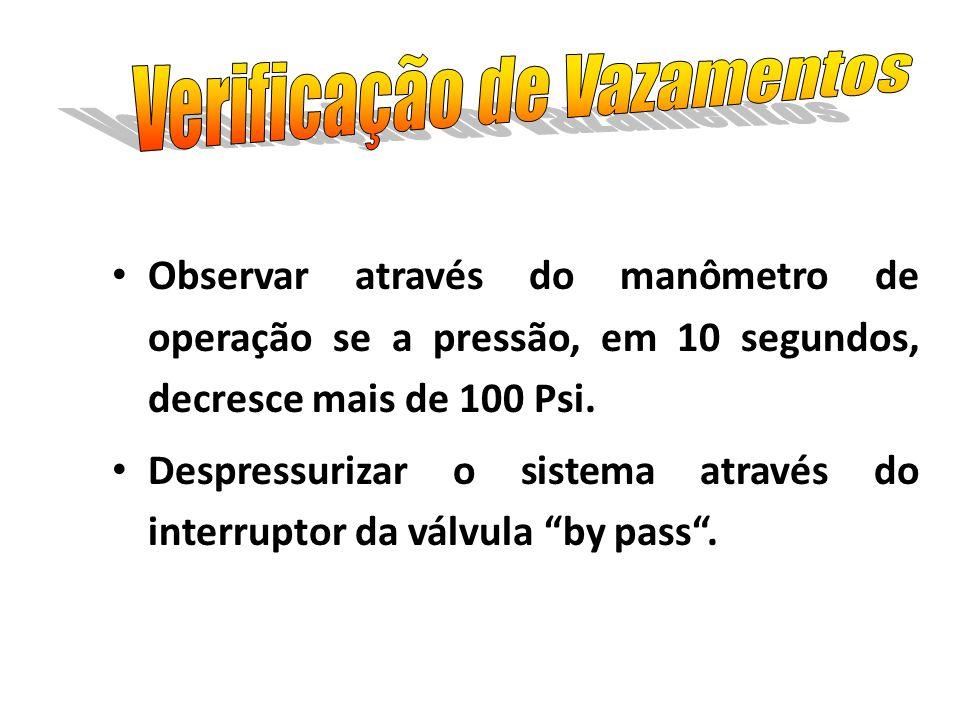 Observar através do manômetro de operação se a pressão, em 10 segundos, decresce mais de 100 Psi. Despressurizar o sistema através do interruptor da v