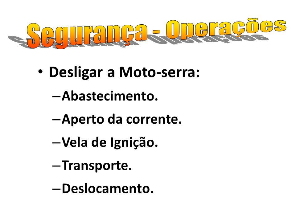 Desligar a Moto-serra: – Abastecimento. – Aperto da corrente. – Vela de Ignição. – Transporte. – Deslocamento.