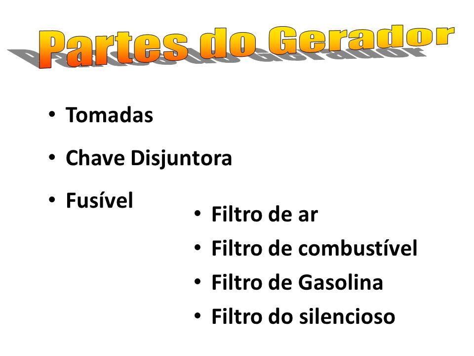 Tomadas Chave Disjuntora Fusível Filtro de ar Filtro de combustível Filtro de Gasolina Filtro do silencioso