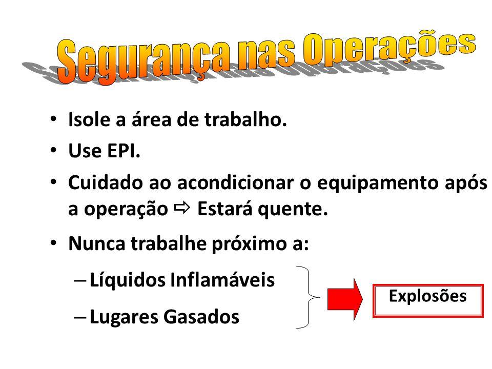 Isole a área de trabalho. Use EPI. Cuidado ao acondicionar o equipamento após a operação Estará quente. Nunca trabalhe próximo a: – Líquidos Inflamáve