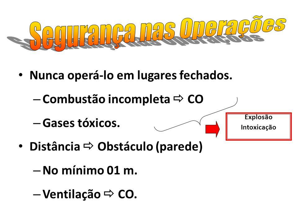 Nunca operá-lo em lugares fechados. – Combustão incompleta CO – Gases tóxicos. Distância Obstáculo (parede) – No mínimo 01 m. – Ventilação CO. Explosã