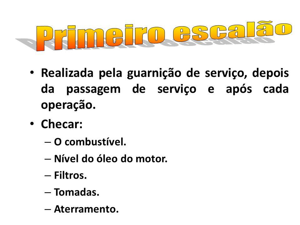 Realizada pela guarnição de serviço, depois da passagem de serviço e após cada operação. Checar: – O combustível. – Nível do óleo do motor. – Filtros.