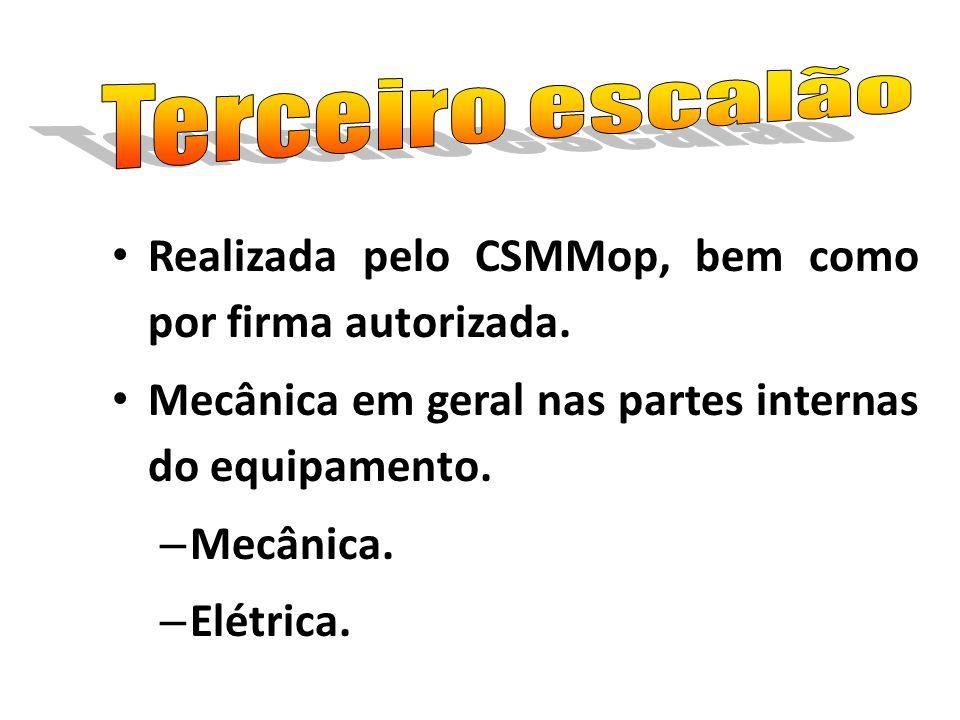 Realizada pelo CSMMop, bem como por firma autorizada. Mecânica em geral nas partes internas do equipamento. – Mecânica. – Elétrica.