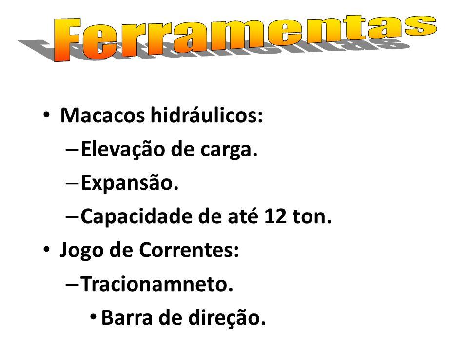 Macacos hidráulicos: – Elevação de carga. – Expansão. – Capacidade de até 12 ton. Jogo de Correntes: – Tracionamneto. Barra de direção.