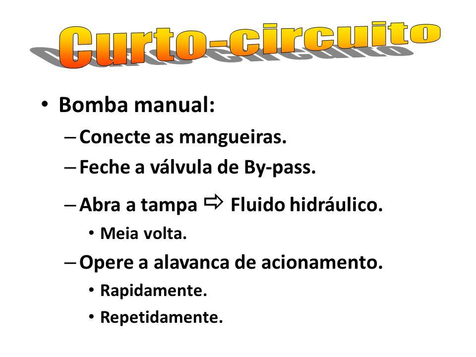 Bomba manual: – Conecte as mangueiras. – Feche a válvula de By-pass. – Abra a tampa Fluido hidráulico. Meia volta. – Opere a alavanca de acionamento.