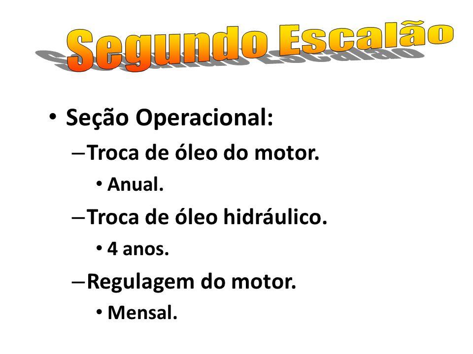 Seção Operacional: – Troca de óleo do motor. Anual. – Troca de óleo hidráulico. 4 anos. – Regulagem do motor. Mensal.