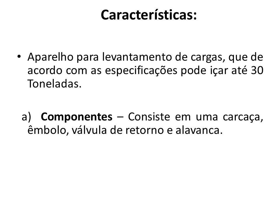 Características: Aparelho para levantamento de cargas, que de acordo com as especificações pode içar até 30 Toneladas. a) Componentes – Consiste em um