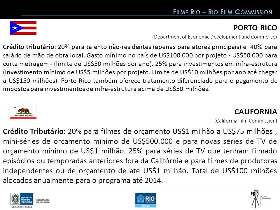 CALIFORNIA PORTO RICO (Department of Economic Development and Commerce) Crédito tributário: 20% para talento não-residentes (apenas para atores principais) e 40% para salário de mão de obra local.