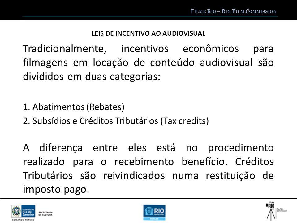 F ILME R IO – R IO F ILM C OMMISSION LEIS DE INCENTIVO AO AUDIOVISUAL Abatimentos e Subsídios não funcionam por restituição de imposto pago.