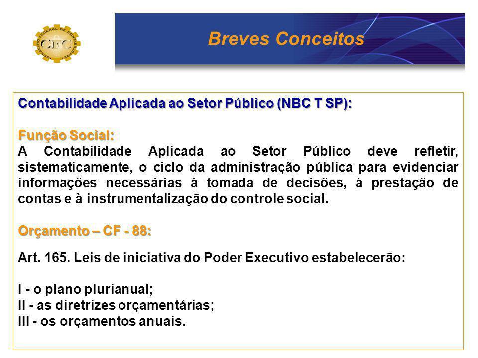 Breves Conceitos Contabilidade Aplicada ao Setor Público (NBC T SP): Função Social: A Contabilidade Aplicada ao Setor Público deve refletir, sistemati