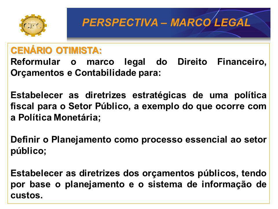 PERSPECTIVA – MARCO LEGAL CENÁRIO OTIMISTA: Reformular o marco legal do Direito Financeiro, Orçamentos e Contabilidade para: Estabelecer as diretrizes
