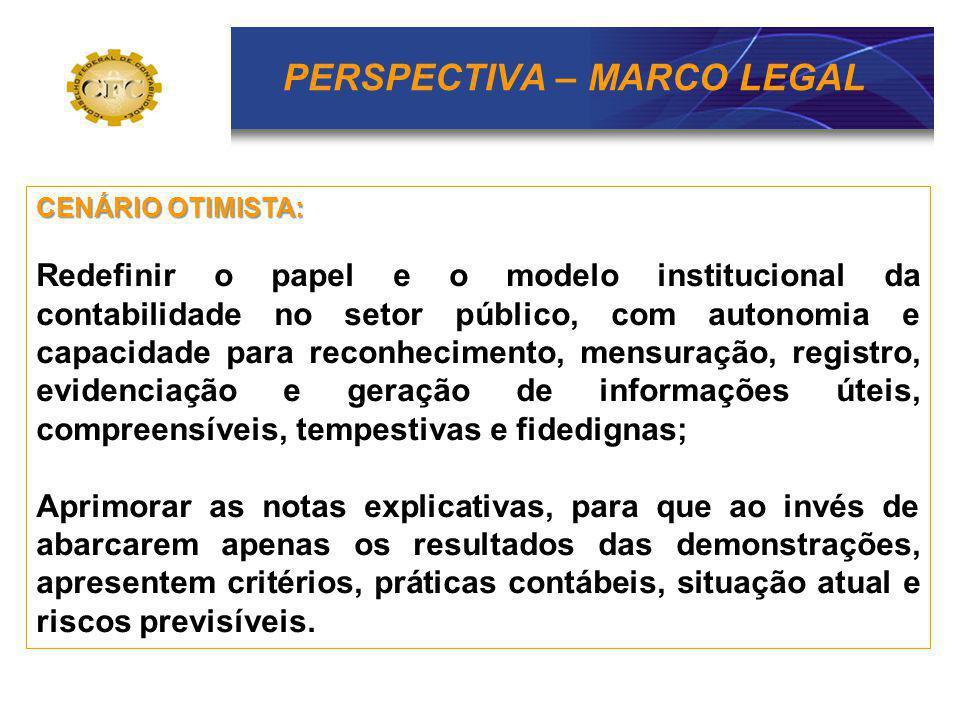 PERSPECTIVA – MARCO LEGAL CENÁRIO OTIMISTA: Redefinir o papel e o modelo institucional da contabilidade no setor público, com autonomia e capacidade p