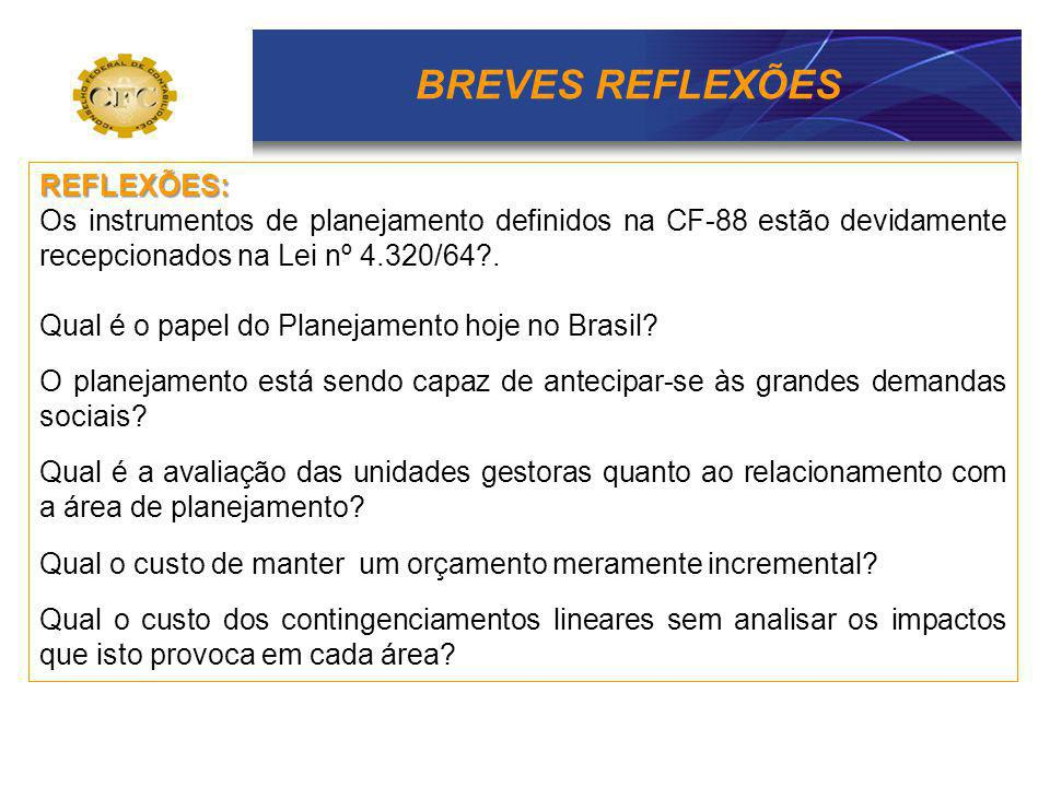 BREVES REFLEXÕES REFLEXÕES: Os instrumentos de planejamento definidos na CF-88 estão devidamente recepcionados na Lei nº 4.320/64?. Qual é o papel do