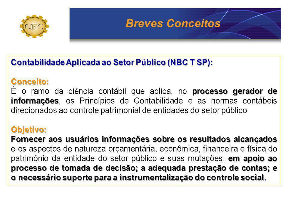 Breves Conceitos Contabilidade Aplicada ao Setor Público (NBC T SP): Conceito: processo gerador de informações É o ramo da ciência contábil que aplica