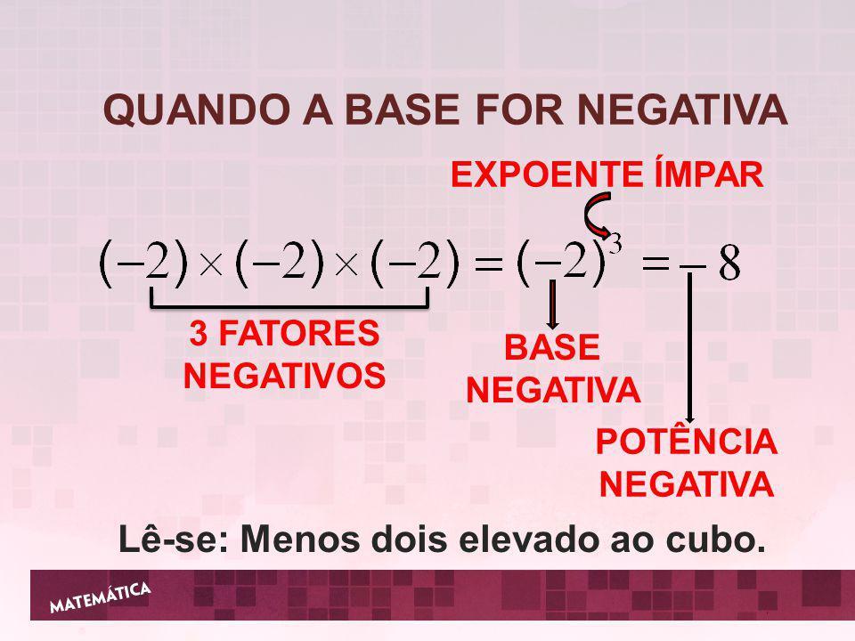 2 FATORES NEGATIVOS BASE NEGATIVA EXPOENTE PAR POTÊNCIA POSITIVA Lê-se: Menos quatro elevado ao quadrado.
