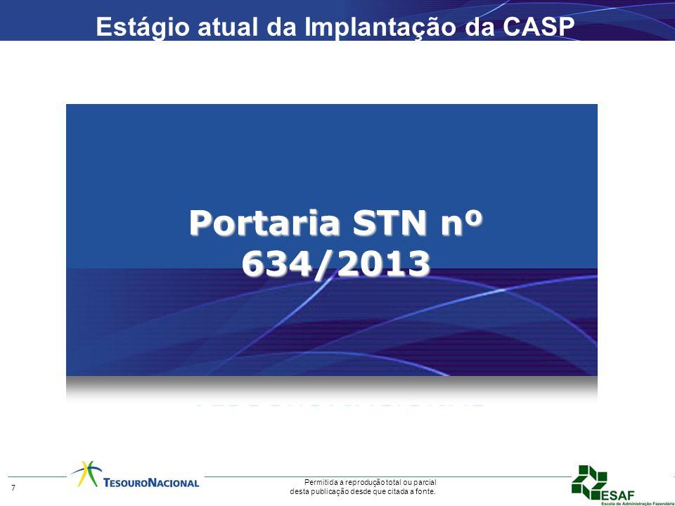 Permitida a reprodução total ou parcial desta publicação desde que citada a fonte. Portaria STN nº 634/2013 7 Estágio atual da Implantação da CASP