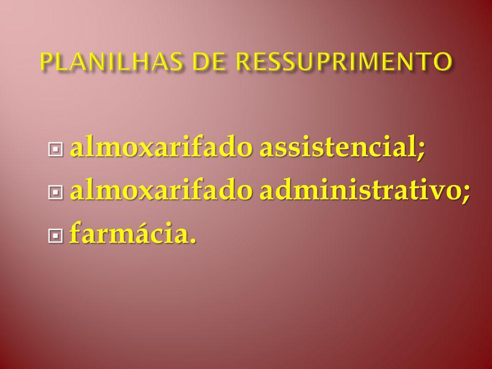 almoxarifado assistencial; almoxarifado assistencial; almoxarifado administrativo; almoxarifado administrativo; farmácia.