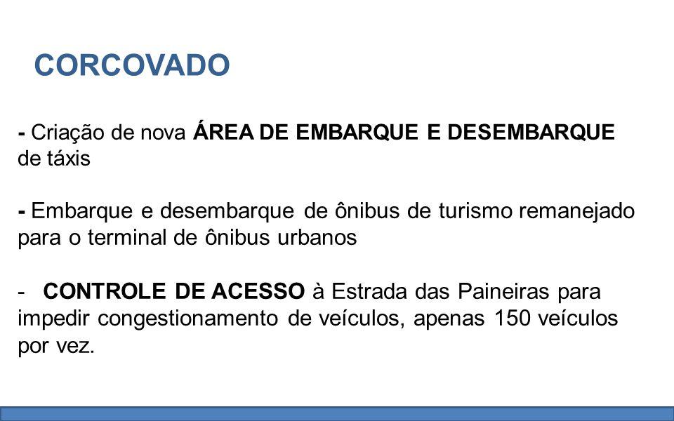 - Criação de nova ÁREA DE EMBARQUE E DESEMBARQUE de táxis - Embarque e desembarque de ônibus de turismo remanejado para o terminal de ônibus urbanos -CONTROLE DE ACESSO à Estrada das Paineiras para impedir congestionamento de veículos, apenas 150 veículos por vez.