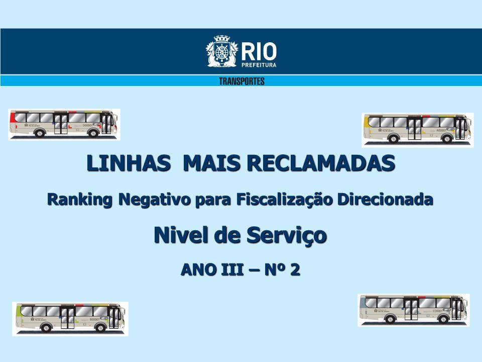 LINHAS MAIS RECLAMADAS Ranking Negativo para Fiscalização Direcionada Nivel de Serviço ANO III – Nº 2