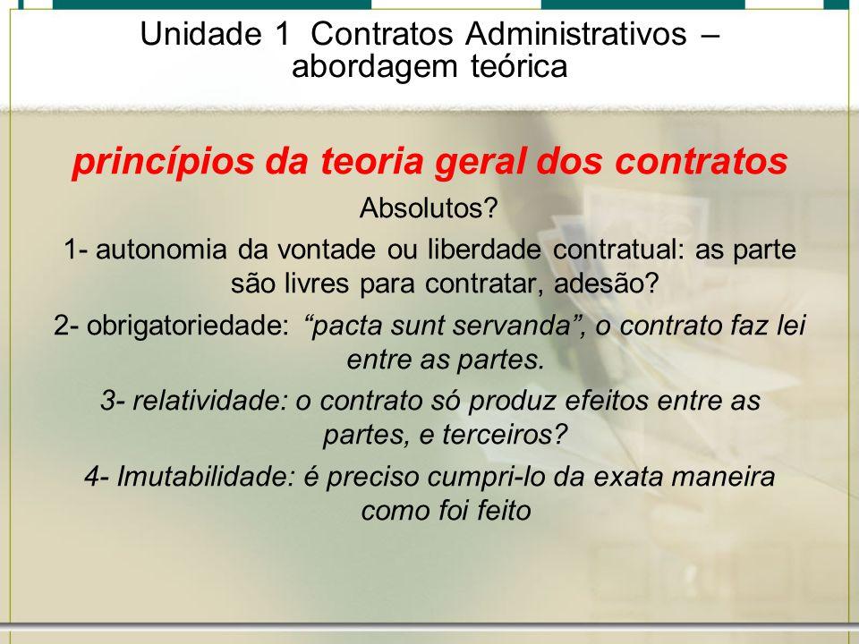 Unidade 1 Contratos Administrativos – abordagem teórica princípios da teoria geral dos contratos Absolutos? 1- autonomia da vontade ou liberdade contr