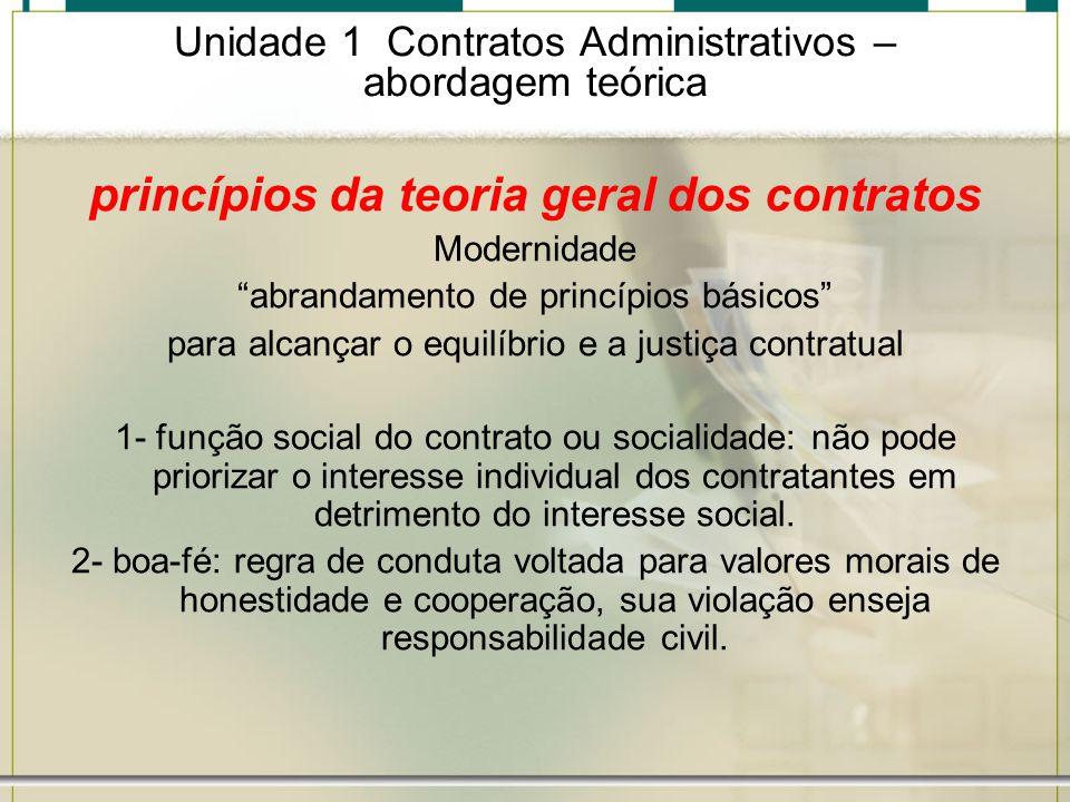 Unidade 1 Contratos Administrativos – abordagem teórica princípios da teoria geral dos contratos Modernidade abrandamento de princípios básicos para a