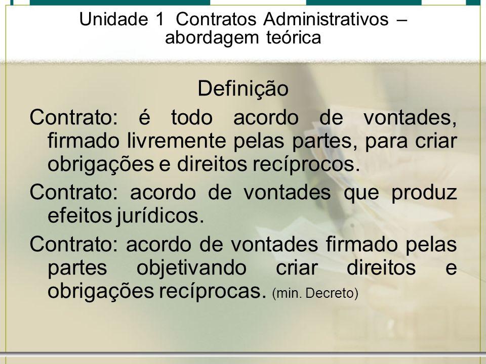 Unidade 1 Contratos Administrativos – abordagem teórica Definição Contrato: é todo acordo de vontades, firmado livremente pelas partes, para criar obr