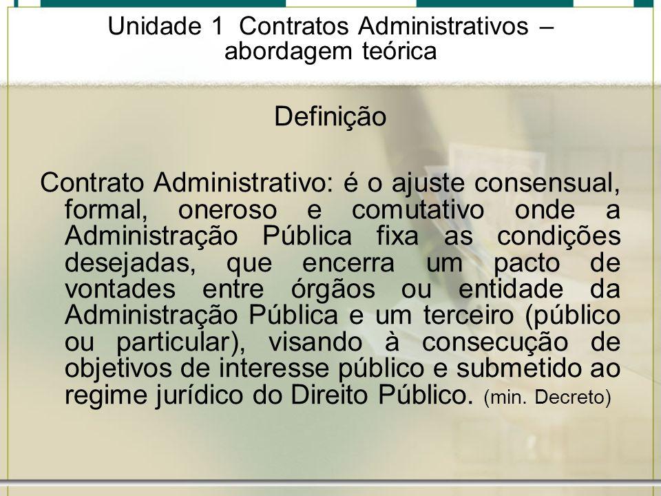 Unidade 1 Contratos Administrativos – abordagem teórica Definição Contrato Administrativo: é o ajuste consensual, formal, oneroso e comutativo onde a