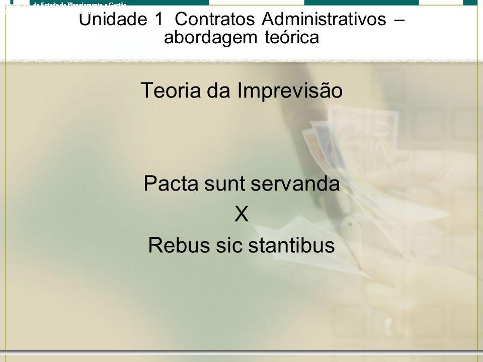 Unidade 1 Contratos Administrativos – abordagem teórica Teoria da Imprevisão Pacta sunt servanda X Rebus sic stantibus Governo do Estado do Rio de Jan
