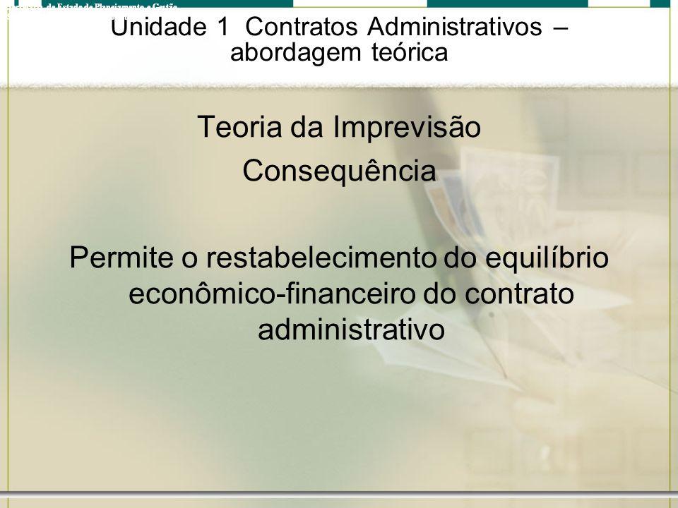 Unidade 1 Contratos Administrativos – abordagem teórica Teoria da Imprevisão Consequência Permite o restabelecimento do equilíbrio econômico-financeir