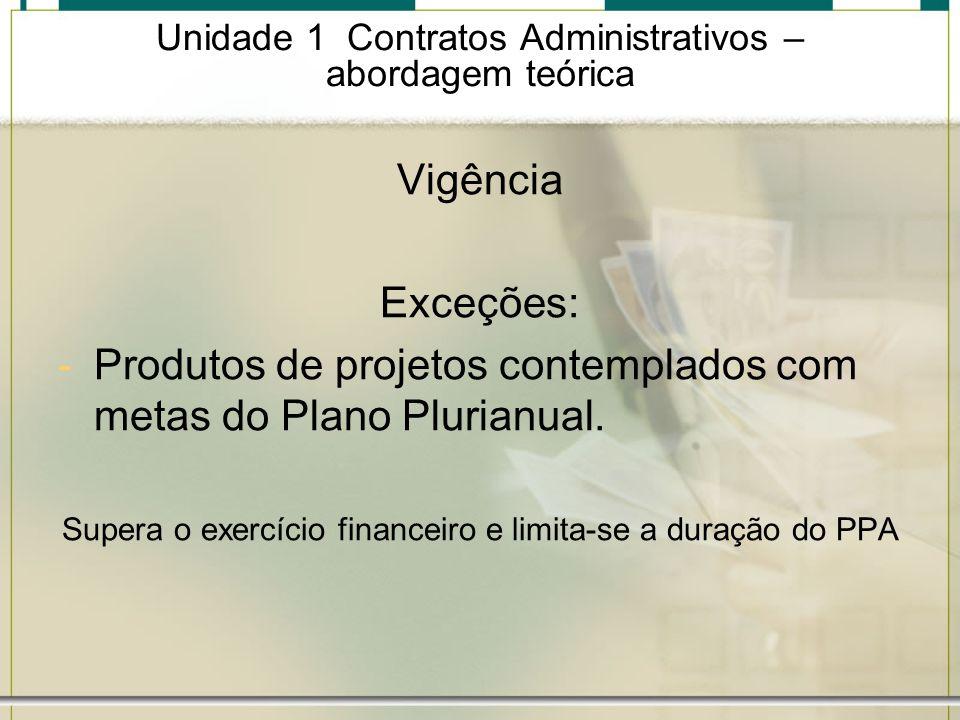Unidade 1 Contratos Administrativos – abordagem teórica Vigência Exceções: -Produtos de projetos contemplados com metas do Plano Plurianual. Supera o
