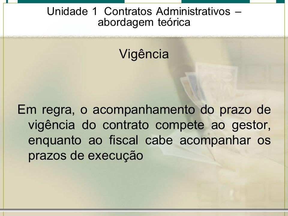 Unidade 1 Contratos Administrativos – abordagem teórica Vigência Em regra, o acompanhamento do prazo de vigência do contrato compete ao gestor, enquan