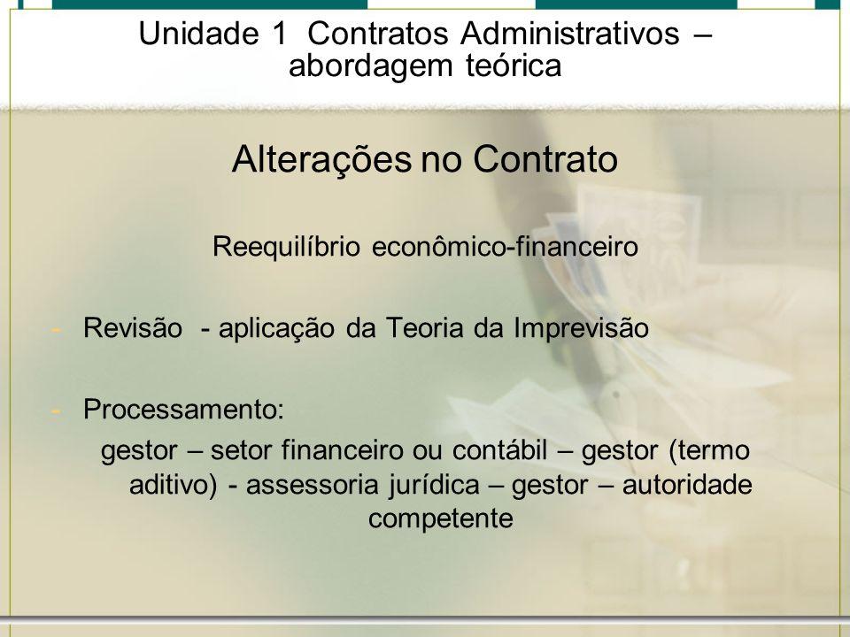 Unidade 1 Contratos Administrativos – abordagem teórica Alterações no Contrato Reequilíbrio econômico-financeiro -Revisão - aplicação da Teoria da Imp