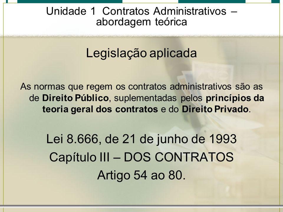 Unidade 1 Contratos Administrativos – abordagem teórica Rescisão Motivos para a rescisão do contrato Artigo 78 Lei 8.666/93 (são 18 hipóteses) devem ser formalmente motivados nos autos do processo, assegurando o contraditório e a ampla defesa