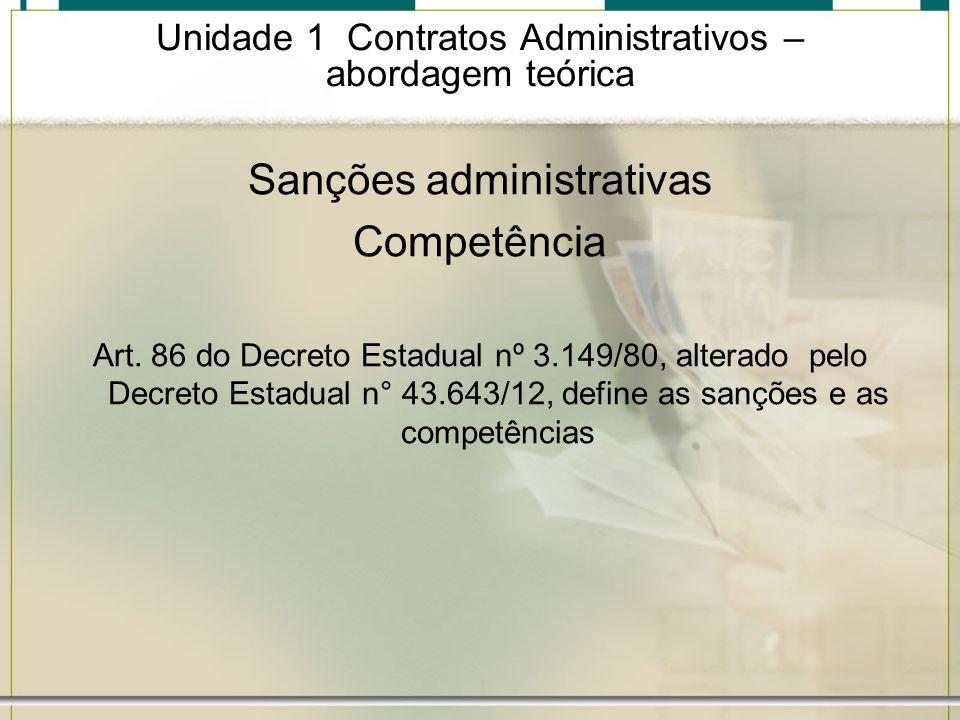 Unidade 1 Contratos Administrativos – abordagem teórica Sanções administrativas Competência Art. 86 do Decreto Estadual nº 3.149/80, alterado pelo Dec