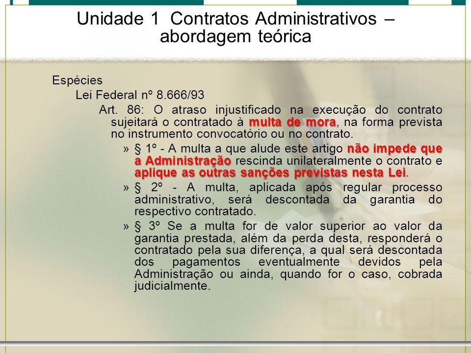 Unidade 1 Contratos Administrativos – abordagem teórica Espécies Lei Federal nº 8.666/93 multa de mora Art. 86: O atraso injustificado na execução do