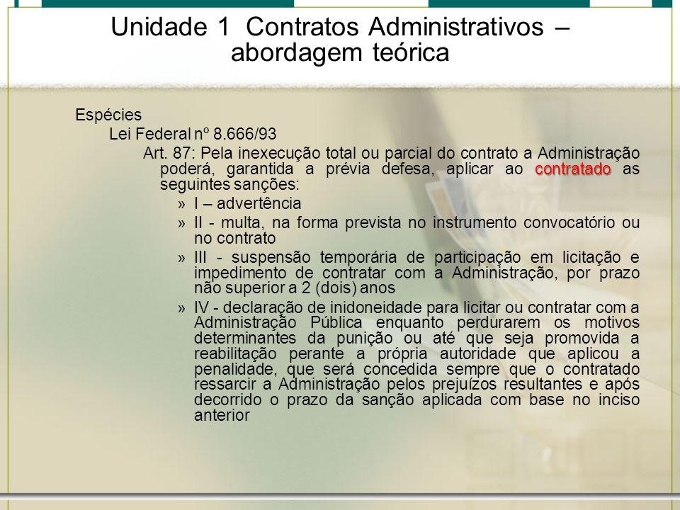 Unidade 1 Contratos Administrativos – abordagem teórica Espécies Lei Federal nº 8.666/93 contratado Art. 87: Pela inexecução total ou parcial do contr