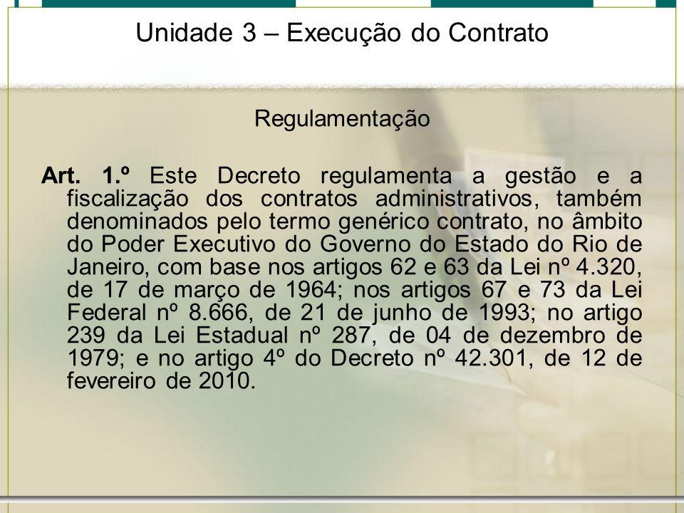 Unidade 3 – Execução do Contrato Regulamentação Art. 1.º Este Decreto regulamenta a gestão e a fiscalização dos contratos administrativos, também deno
