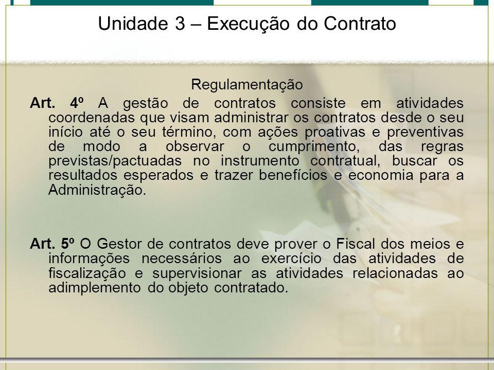Unidade 3 – Execução do Contrato Regulamentação Art. 4º A gestão de contratos consiste em atividades coordenadas que visam administrar os contratos de