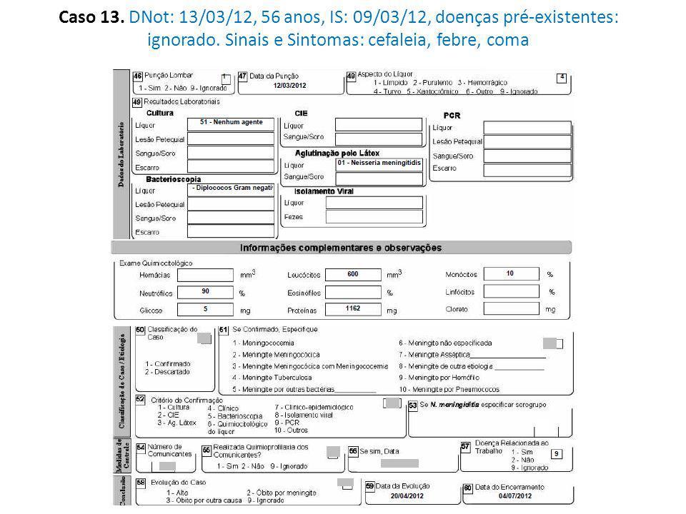 Caso 13. DNot: 13/03/12, 56 anos, IS: 09/03/12, doenças pré-existentes: ignorado.