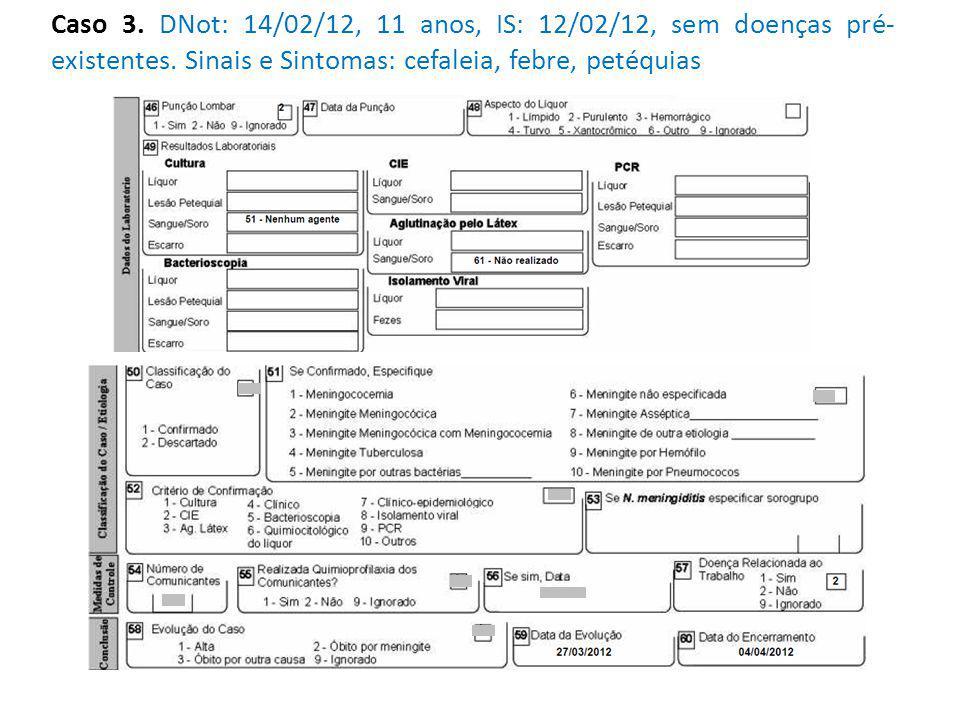 Caso 3. DNot: 14/02/12, 11 anos, IS: 12/02/12, sem doenças pré- existentes.