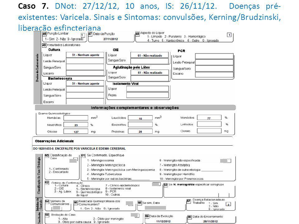 Caso 7. DNot: 27/12/12, 10 anos, IS: 26/11/12. Doenças pré- existentes: Varicela.