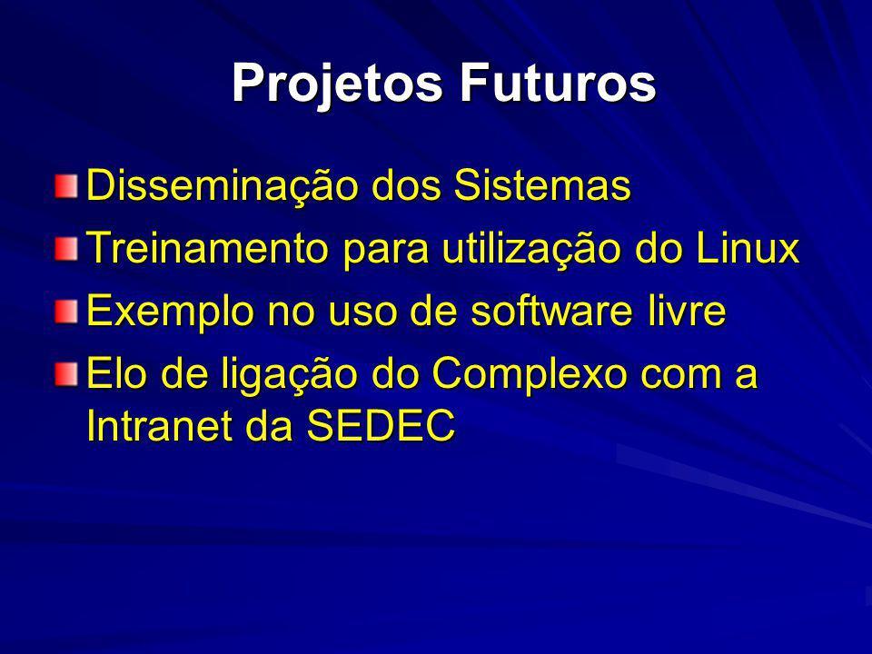 Projetos Futuros Disseminação dos Sistemas Treinamento para utilização do Linux Exemplo no uso de software livre Elo de ligação do Complexo com a Intranet da SEDEC