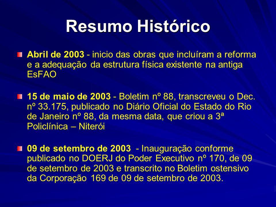 Resumo Histórico Abril de 2003 - inicio das obras que incluíram a reforma e a adequação da estrutura física existente na antiga EsFAO 15 de maio de 2003 - Boletim nº 88, transcreveu o Dec.